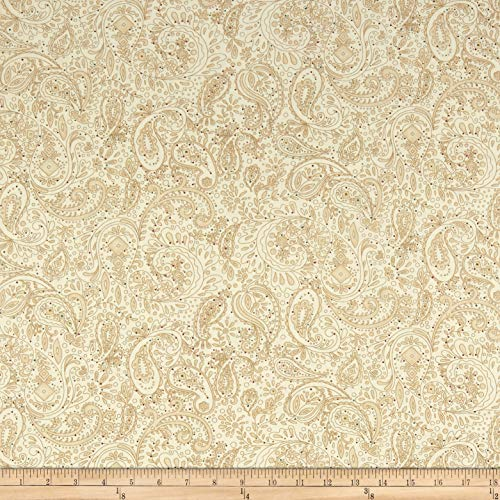 (Henry Glass & Co. Henry Glass Spiced 108'' Quilt Back Paisley with Tiny Dots Beige, Fabric by the Yard)