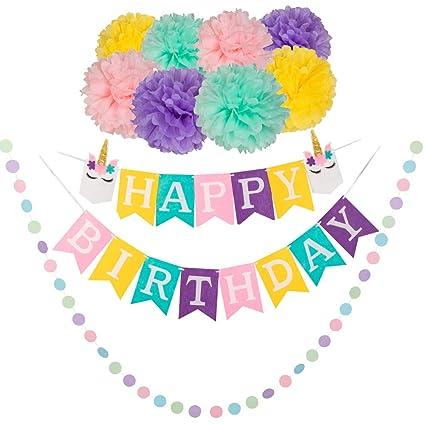 Amazon.com: Unicornio cumpleaños fiesta decoraciones feliz ...