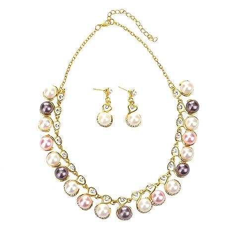 612e96183930 Scrox 2pcs Novia Juego de Joyas Mujeres Conjunto Plata Moda Joyería Collar  Cristales Perla Colgante Rhinestone