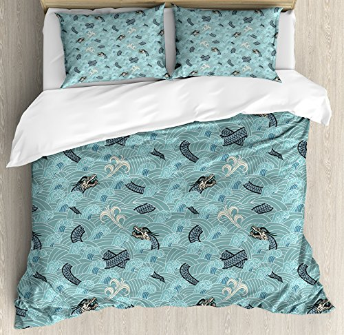 Ambesonne Japanese Wave Duvet Cover Set Queen Size, Asian Style Pattern with Dragon Figures and Sea Waves Mythology Monster Theme, A Decorative 3 Piece Bedding Set with 2 Pillow Shams, Teal Grey White ()