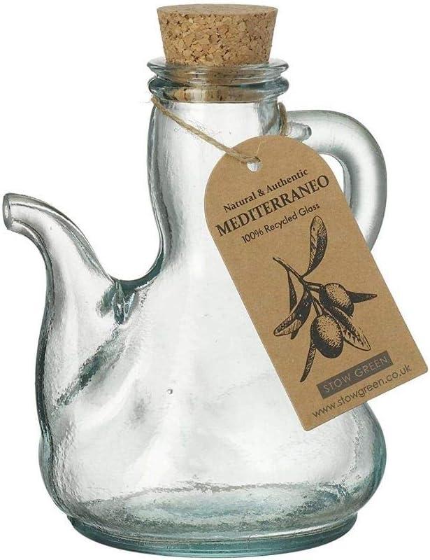 Mediterraneo - Botella de aceite de oliva catalana de cristal reciclado transparente verde, pequeña, 250 ml
