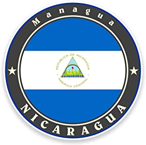 2 x 10cm- 100mm Nicaragua Flag Vinyl SELF ADHESIVE STICKER Decal Laptop Travel Luggage Car iPad Sign Fun #9238