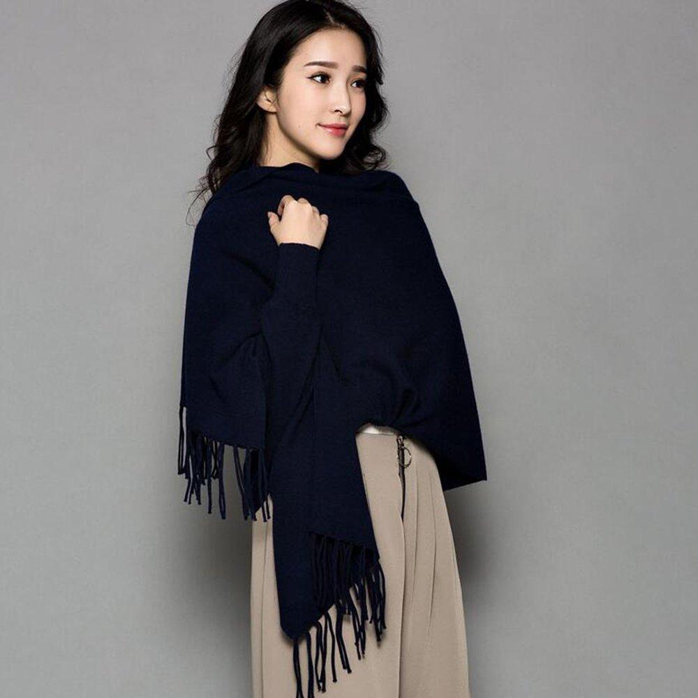 HAIZHEN alla moda alla moda Sciarpa femminile più spessa con maniche Ufficio Cloak Autunno e inverno caldo Scialle in 12 colori Morbido e caldo ( Colore : Marina )