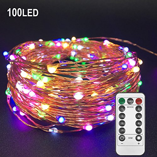 Twinkle Star 33ft 100LED Multi-Color Copper Wire String Lights Fairy String Lights 8 Modes LED String Lights USB Powered with Remote Control for Christmas Wedding Party Home Decoration -