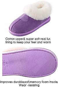 Pantuflas de Felpa Doble Slip-on Zapatillas de Invierno Antideslizante por casa para Mujer//Hombre