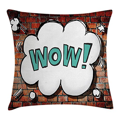 Bett2019 Rustic Home Decor Throw Pillow Cushion Cover, Red Cracked Brick Wall British Backdrop UK English Pop Art Cloud 90's Grunge, Decorative Square Accent Pillow Case, 18 X 18 Inches, Multi
