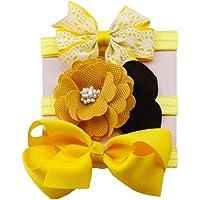K-youth® 3pcs Niños Elásticos Diadema Floral Pelo Niñas Bebé Bowknot Hairband Conjunto Mariposa Niñas Banda Para La Cabeza Diadema Bebé