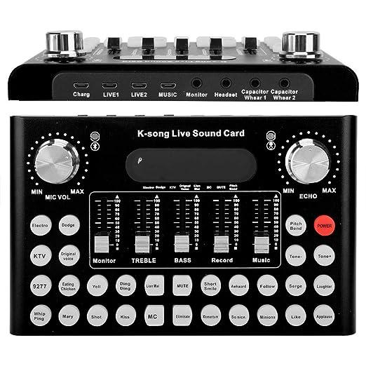 Wendry Tarjeta de Sonido Externa, Cambio de Sonido Disponible para Live, Reducción de Ruido Inteligente para Metal F007 1200mA DC5V / 1A USB Teléfono ...