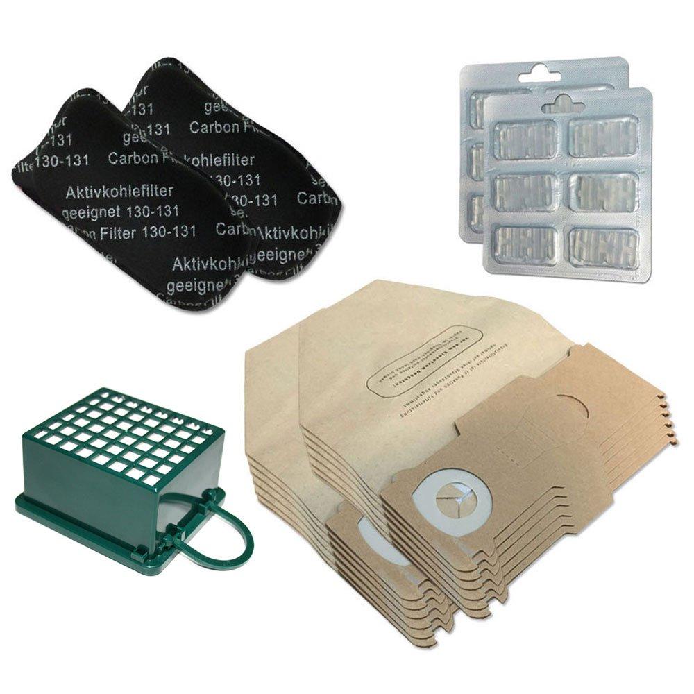 KIT 12 Sacchi/Sacchetti + 12 Profumini + Filtro HEPA/EPA + 2 Filtri ODORI per aspirapolvere Vorwerk Folletto Kobold VK 130, 131 SC, VK130, VK131 Filterprofi