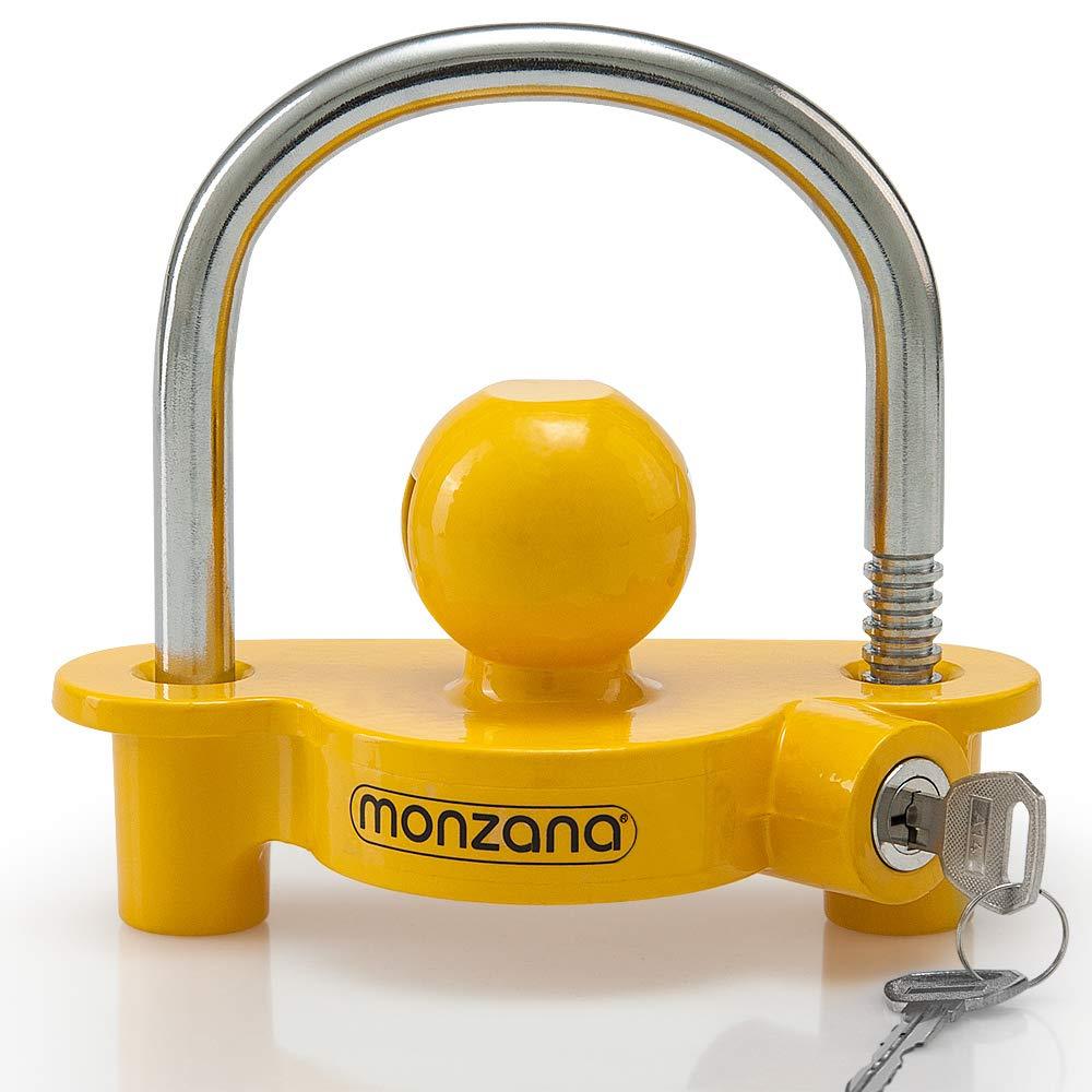 Monzana Candado para remolque Amarillo robusto para enganchar a caravana tráiler protección seguridad antirrobos llave