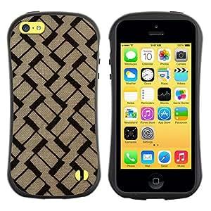 """Hypernova Slim Fit Dual Barniz Protector Caso Case Funda Para Apple iPhone 5C [Patrón Marrón Negro Basketweave""""]"""