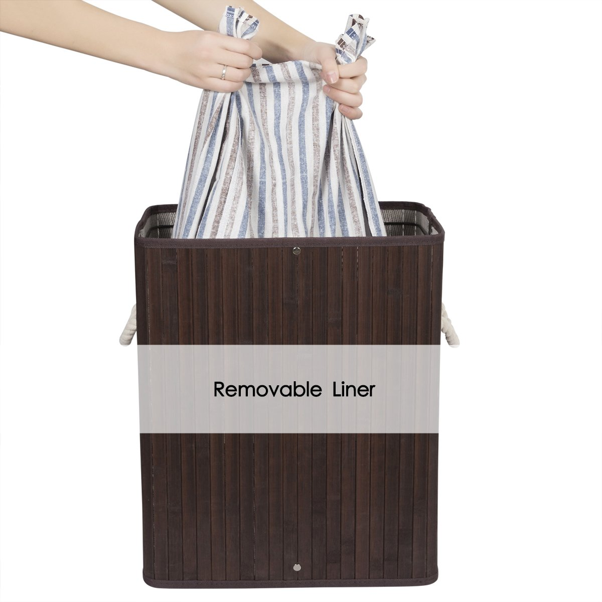 ZERO JET LAG 40L Bamboo Laundry Hamper Laundry Basket Dirty Clothes Box Natural Laundry Bin Lid Handles Removable Liner Collapsible Dirty Clothes Organizer(Dark Brown)