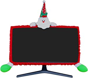 MNKXL Christmas Monitor Cover 3D Santa Claus Christmas Decoration Elastic Adjustable Computer Monitor Cover for Home Office Decor Laptop Display Dustproof Cover Monitor Screen Protector