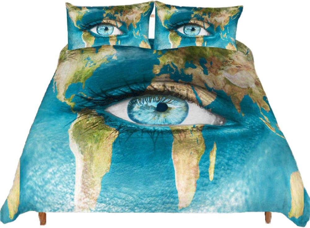 Blue Vibrant Travel Boys Girls Decorated Bedding Feelyou World Map Duvet Cover Kids Teen Twin Size Nation Flag Print Bedding Set Map Pattern Quilt Cover Geography Bed Cover 100/% Soft Zipper