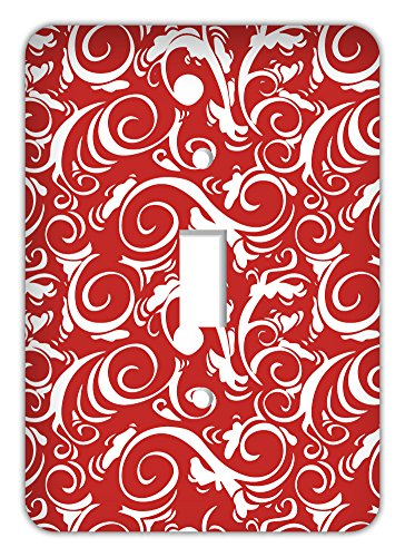 Damask Trendy Printed Single Switchplate Cover, (Damask Switchplate)