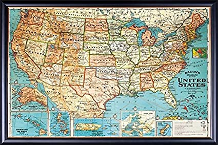 amazon com framed perfect for push pins usa map vintage look 20x28
