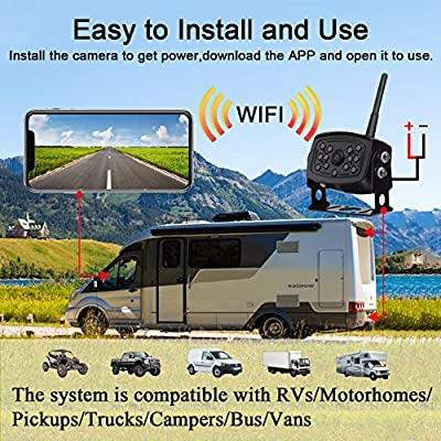Rohent WiFi Digital Wireless Backup Camera for Trucks,Vans,Campers Trailer Hitch Rear View Camera The Latest Technology IP69K Waterproof Wide Angle Compatible iPhone/iPad and Android Device: Car Electronics