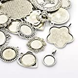 PEPPERLONELY Brand 100 Gram Antique Silver Mixed Styles Tibetan Style Alloy Pendant Cabochon Bezel Settings
