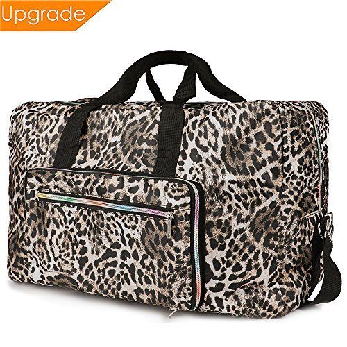 Fordicher Women Nylon Foldable Large Travel Duffel Bag Travel Tote Luggage Bag with Detachable Shoulder Straps for Vacation (Leopard Print)