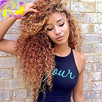 Rj Hair Honey Blonde Full Lace Human Hair Wigs Virgin Brazilian Kinky Curly Lace Front Wigs Color 30 18 30 Full Lace Wig