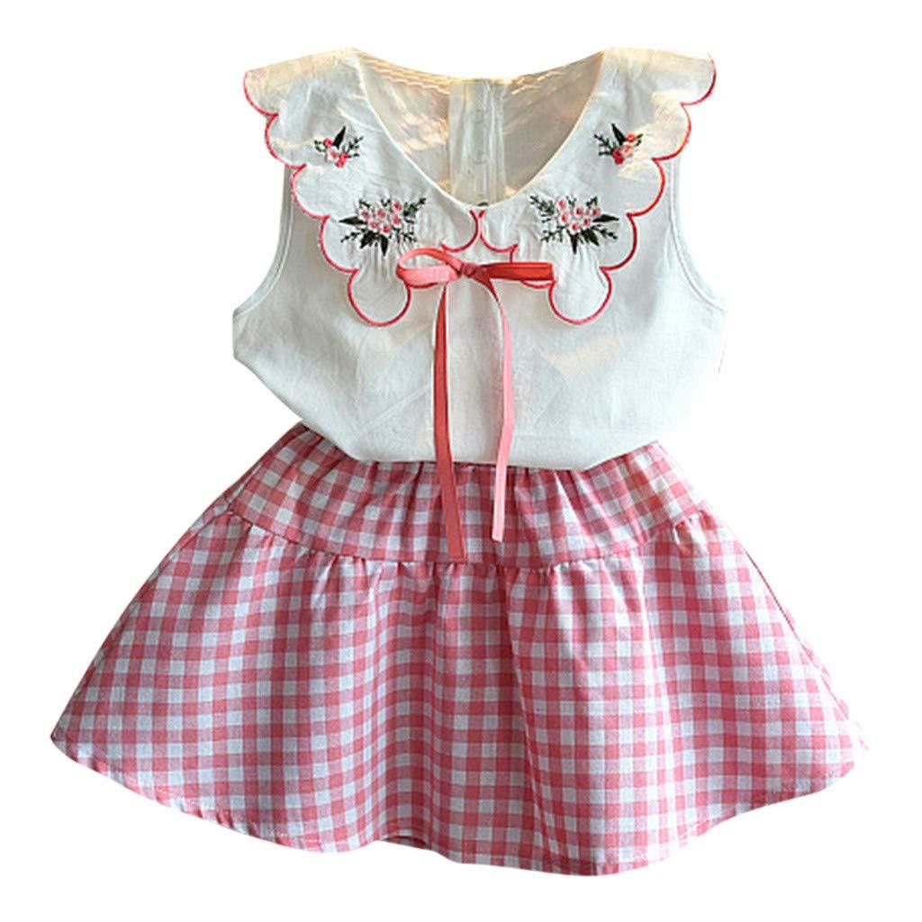 Plaid Kleid Sets Sommerkleid Anzug 2-6 Jahre Sannysis Baby M/ädchen Outfits Kleidung Bowknot Weste Tops