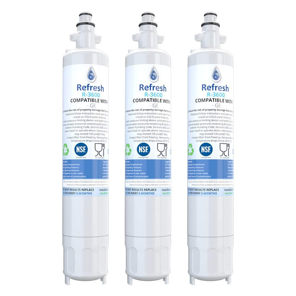 Refresh Replacement Refrigerator Water Filter for GE RPWF, R-3600; also compatible with FILTER models RWF1063, RWF3600A, RPWF, WSG-4 (does NOT fit RPWFE) - 3 Pack