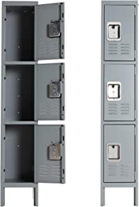 Metal Locker for School Office Gym Metal Storage Locker Cabinet for Employees Students Steel Locker Triple Tier with 3 Door Gray