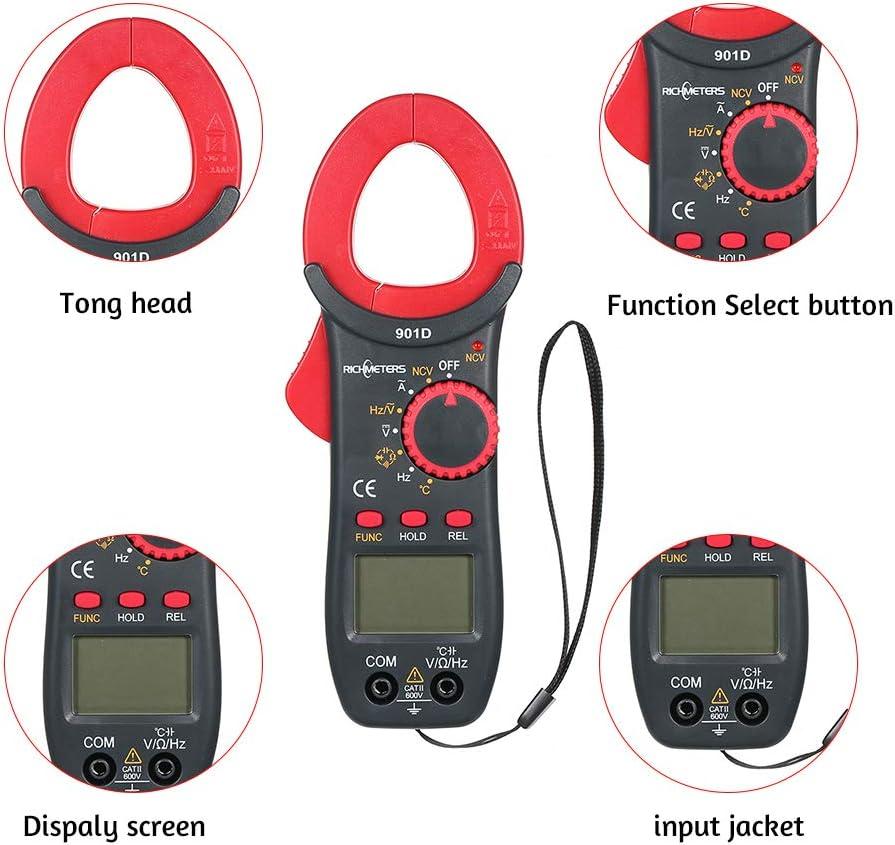 Digital Clamp Meter RICHMETERS RM901D Digital Clamp Meter 4000 Counts NCV Auto-Ranging AC//DC Voltage Meters Poetable Frequency Resistance Capacitance Diod Temperature Measuring Multimeter