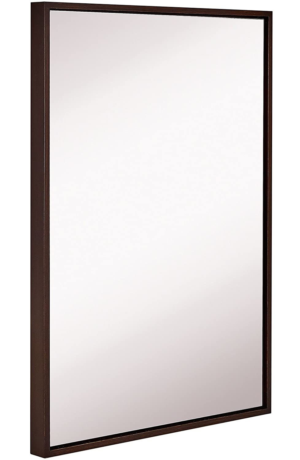 Hamilton Hills Clean Large Modern Wenge Frame Wall Mirror | Contemporary Premium Silver Backed Floating Glass Panel | Vanity, Bedroom, or Bathroom | Mirrored Rectangle Hangs Horizontal or Vertical