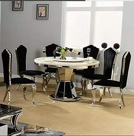 LGFSG Conjunto de Mesa Juego de Comedor de Acero Inoxidable Muebles para el hogar Minimalista Mesa de Comedor de Vidrio Moderna y 4 sillas, Blanco: Amazon.es: Hogar