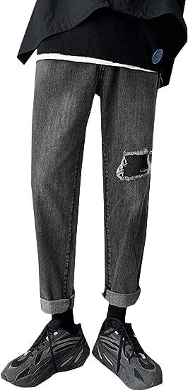 [MLboss]ジーンズ メンズ デニムパンツ ゆったり ダメージ ストレートパンツ デニム オシャレ Gパン ロング丈 ファッション ジーパン カジュアル ストリート ズボン