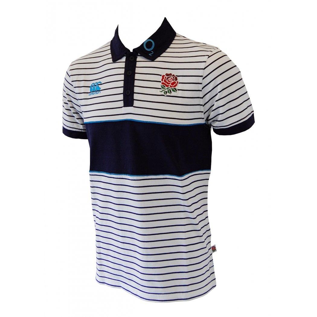 Canterbury Inglaterra Stripe Polo Caballero, Blanco/Azul, L ...