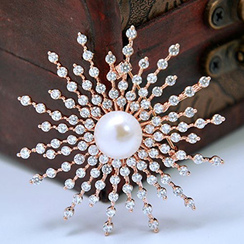 14K Yellow Gold Plated Luxury Cultured Freshwater Pearl Brooch Sunshine Glitter