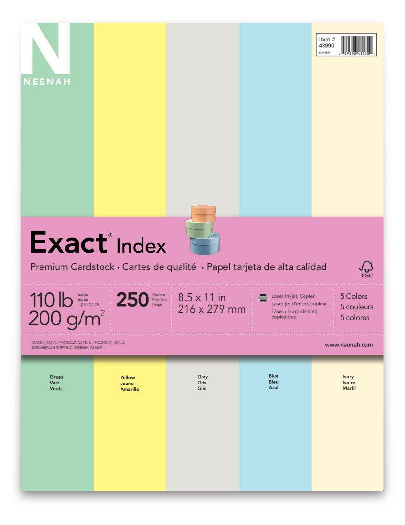 Exact Index Cardstock, 8.5'' x 11'', 110 lb/199 gsm,''Pastel'' 5-Color Assortment, 250 Sheets (48990)