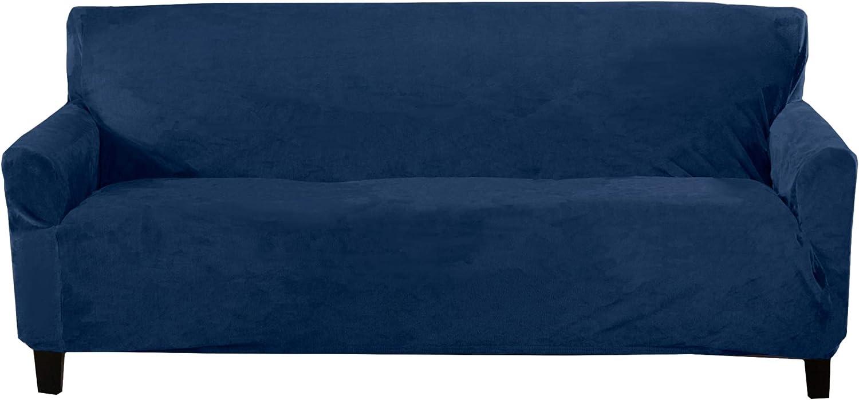 Velvet Plush Stretch Sofa Slipcover. Velvet Sofa Couch Furniture Protector, Soft Anti-Slip, High Stretch for 3 Seat Sofa. (Sofa XL- 3 Seater, Dark Denim Blue)