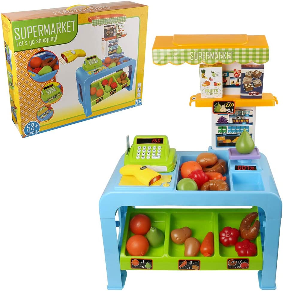 Childrens Pretend Play Supermarket Store with Toy Cash Register, Foods, Shopping Cart for Kids