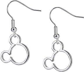 SIX Disney Adults, Micky Maus Ohrringe, silber, mit Micky Kopf, für Kinder und Erwachsene (761-299)