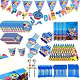 Shark Party Supplies Set - 109 Pcs Shark Themed Birthday Decorations Includes Disposable Tableware Kit Blowing Dragon Paper Hat Gift Bag and Banner - Serves 10 Guest