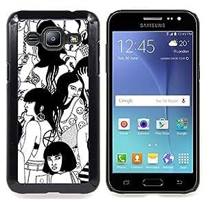 Witch Black White Deep Woodstock Caja protectora de pl??stico duro Dise?¡Àado King Case For Samsung Galaxy J2