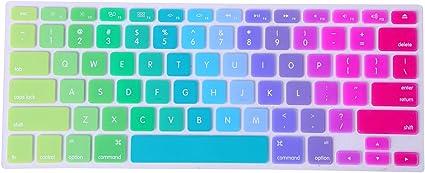 "New Silicone Rainbow Keyboard Skin Cover For Apple Macbook Air Mac 13/""15/""17/"" US"