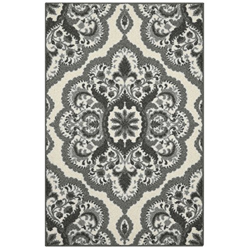 Maples Rugs Kitchen Rug - Vivian 2.5 x 4 Non Skid Small Accent Throw Rugs [Made in USA] for Entryway and Bedroom, 2'6 x 3'10, Grey by Maples Rugs