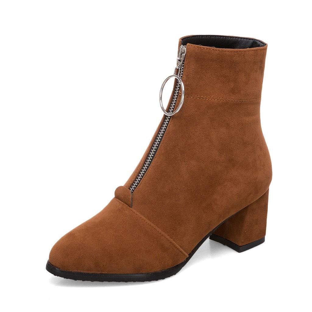 Mode Kurze Stiefel, Hohe Ferse Niedrige Stiefel Spitzen Front-ReißVerschluss Mit Martin Stiefel Mattiert Wasserdichte Plattform Rutschfeste Warme Und Bequeme Damenschuhe  | Erschwinglich