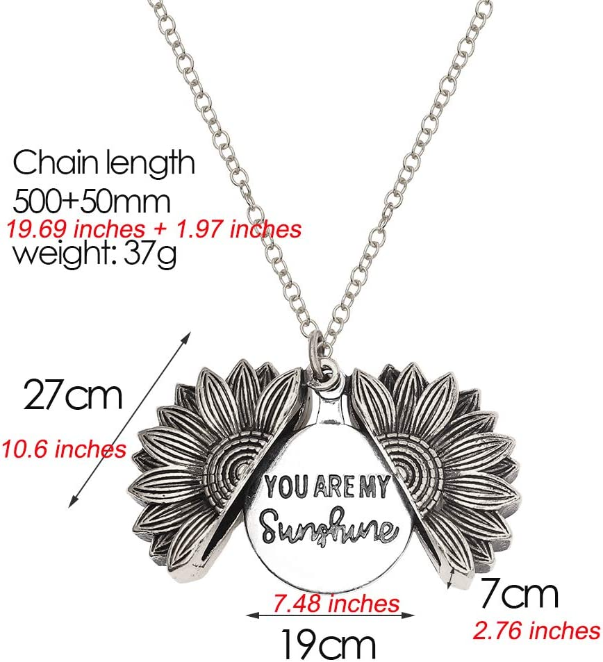 You are My Sunshine Engraved Necklace Memorial Sunflower Locket Pendant Necklace for Women Girls Christmas Gifts Gold