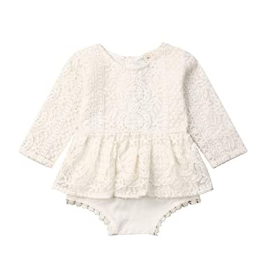 Newborn Infant Baby Girl Lace Bodysuit Romper Jumpsuit Sunsuit Outfits Clothes