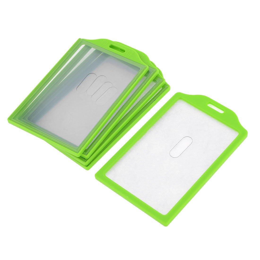 Uxcell Plastic Frame School ID Card Holder, 91 x 59 mm, 5-Piece, Grass Green
