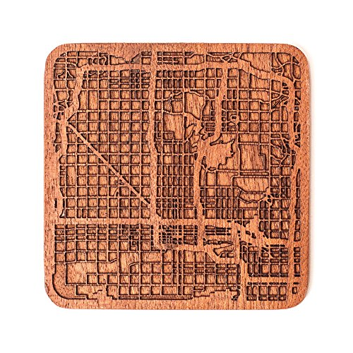 Phoenix Map Coaster by O3 Design Studio, 1 piece, Sapele Wooden Coaster With City Map, Handmade, Multiple city -