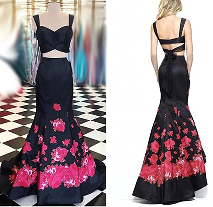 e1f20e07a95 Amazon.com  Asoiree Floral Print Two Piece Mermaid Prom Dresses Long  Homecoming Satin Pageant Gowns  Clothing