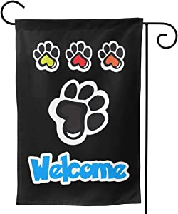 YISHOW Dog Paw Welcome Garden Flag Double Sided Vertical House Flags Dog Paw Welcome Yard Signs Outdoor Decor 12.5 X 18 Inch