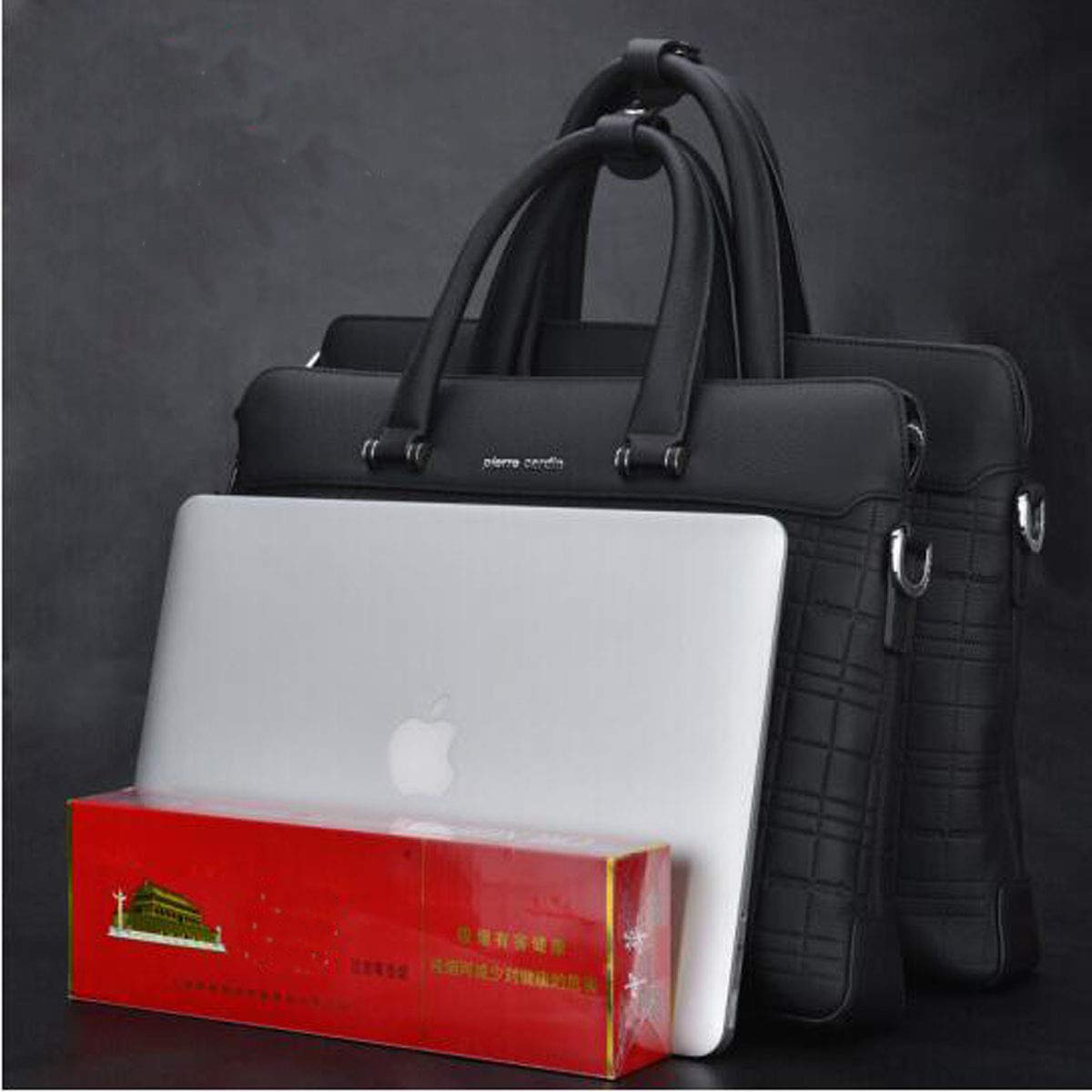 Size : 16312 inch First Layer Leather Computer Bag 2018 New Business Tote Black Large Size: 41629.5cm Kehuitong Briefcase