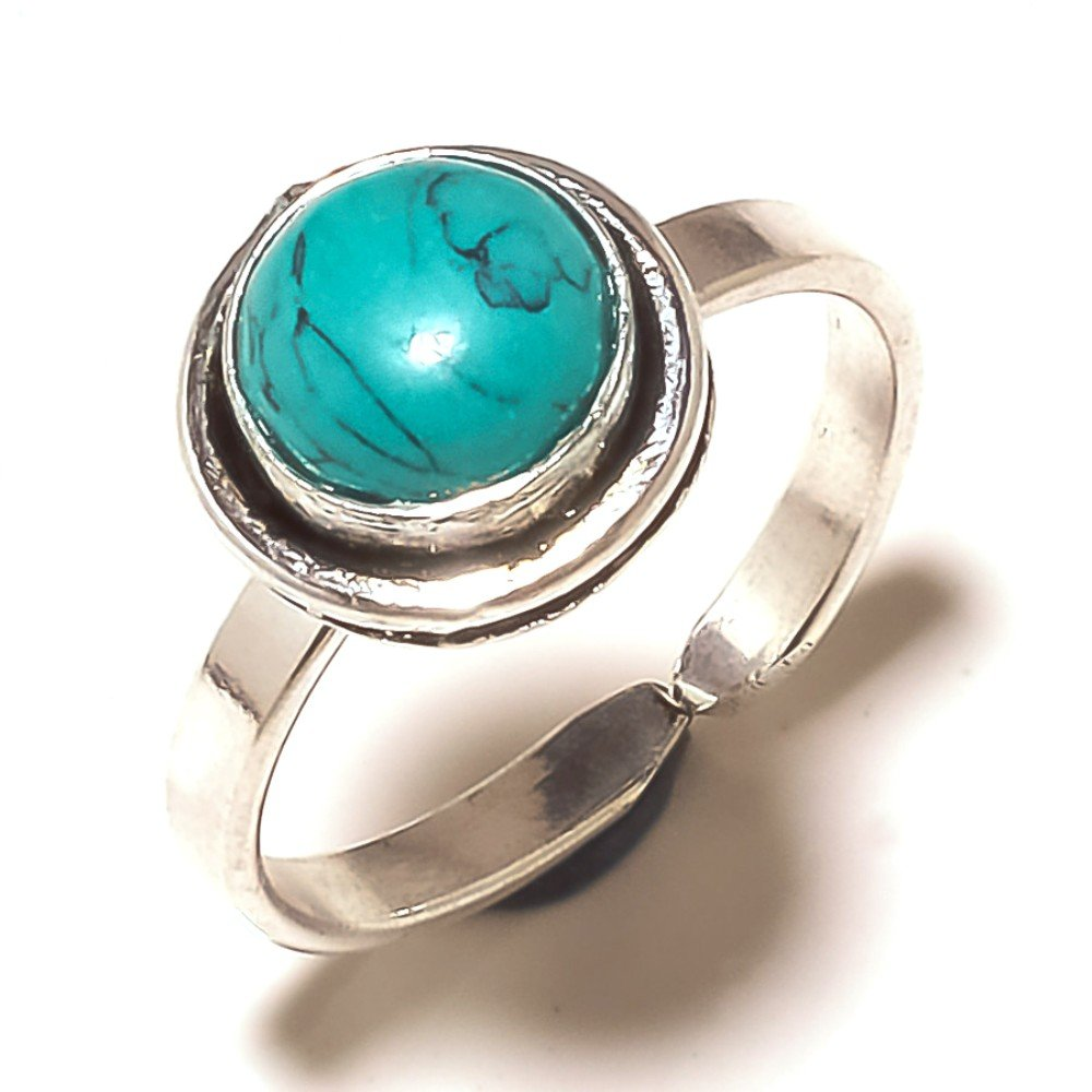 New Jewelry Blue Turquoise Sterling Silver Overlay 4 Grams Ring Size 8 US Sizable